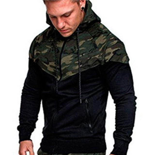 LeeLion 2018 Spring Camouflage Patchwork Hoodies Men Zipper Cardigan Sweatshirts Slim Fit Sportswear Men's Fashion Tracksuit-novahe