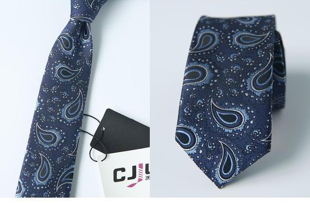 2018 Formal Men Navy Blue Classic Paisley Ties for Bridegroom 6cm Slim Neck Ties for Wedding Tie Skinny Groom Tie for Men Party-novahe