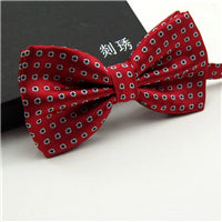 New Mens Fashion Jacquard Floral Flower Dot Wedding Tuxedo Party Red Green Blue Bow Tie Free shipping Casual Gravata Butterfly-novahe