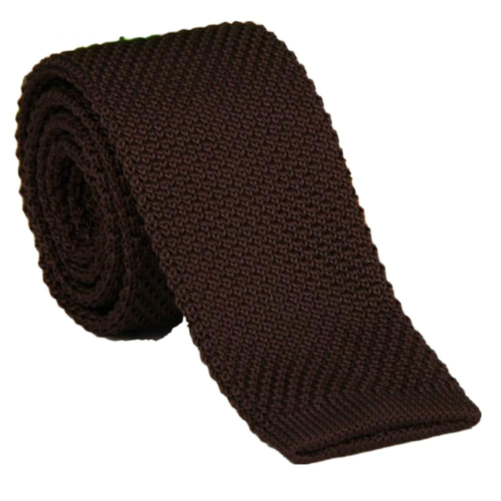 Men's Dark Brown Classical Knit Tie Slim Skinny Knitted Ties Groom Wedding Party Business Necktie ZZLD912-novahe
