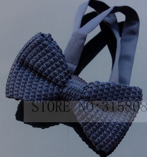 Mens Classic Knit Adjustable Bow Tie Pre Tied