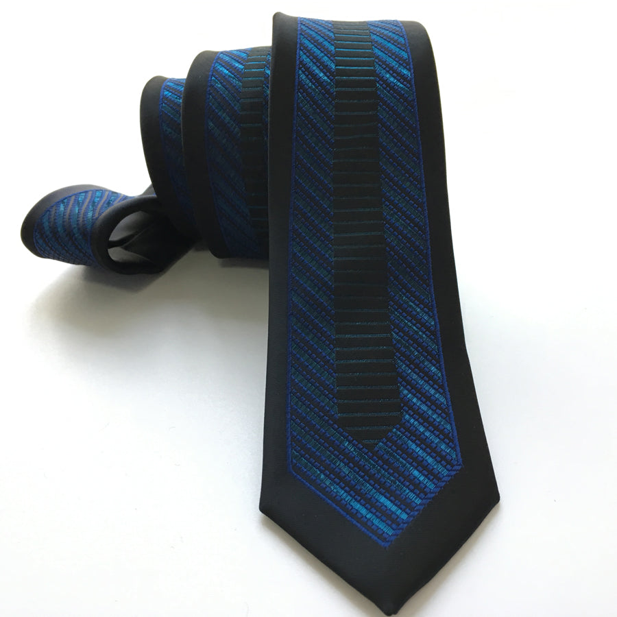 Young Men Fashion Skinny Tie Jacquard Woven High Quality Necktie Black with Blue Unique Patterned Gravata Free Shipping-novahe