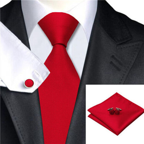 Classic Tie Sets 100% Jacquard Woven Silk Boys Men's Tie Party Necktie 10 Colors-novahe