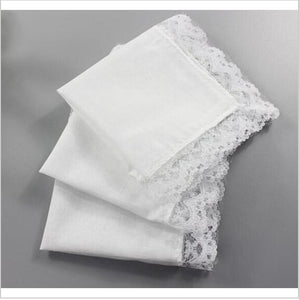Free shipping 15pcs wholesale Personalized white lace handkerchief, woman wedding gifts squares Cotton Handkerchiefs-novahe