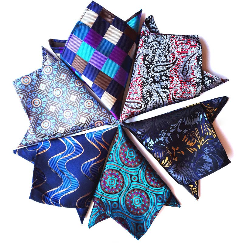 Wholesale ( 10 pieces / Lot ) 25CM Mens 100% Silk Handkerchiefs Floral Plaid Stripes Polka DOTS Pocket Squares For Wedding Party-novahe