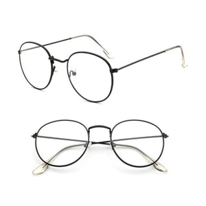 Vintage Men Women Eyeglass Metal Frame Glasses Round Spectacles Clear Lens Optical-novahe