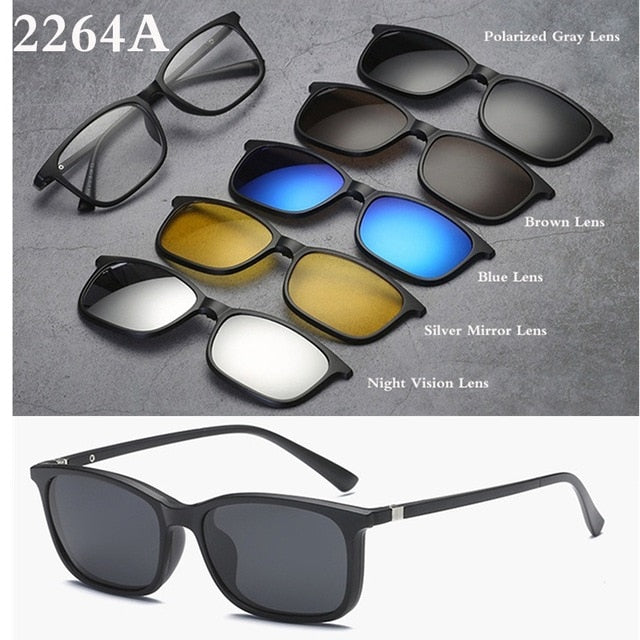 Spectacle Frame Eyeglasses Women Men With 5 clip on Polarized Sunglasses Magnetic Adsorbent For Female Male Eye Glasses BC404-novahe