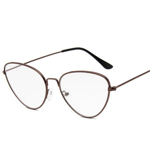 Oulylan Women Men Metal Glasses Frame Cat Eye Clear Lens Glasses Brand Designer Optical Glasses Computer Glasses-novahe