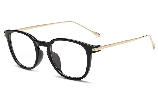 UVLAIK Oversized Clear Glasses Frame Men Women Retro Metal Frame Transparent Eyeglasses Spectacle Optical Frames-novahe