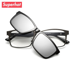 Superhot Eyewear - Aolly Rectangle Eyeglasses Frame Spectacle Glasses with Magnetic Polarized Sun Clips Men Optics TR2217-novahe