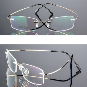 Mayitr 1pc Unisex Ultralight Rectangular Glasses Frame Flexible Rimless Memory Metal Eyeglass Frames 4 Colors High Quality-novahe