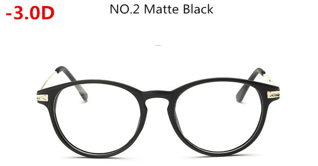 -0.5~-6.0 Matte Black with Diopter Glasses Finished Myopia Glasses Women Men -50 -100 -150 -200 -250 -300 -350~ -500 -550 -600-novahe