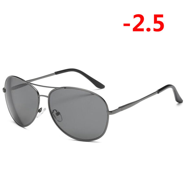 0 -0.5 -1.0 -1.5 To -6.0 Metal Finished Myopia Sunglasses Men Fashion Big Frame Short-sight Eyewear Prescription Sunglasses-novahe