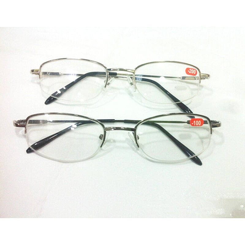 High Diopters Metal Half-Frame Unisex Nearsighted Myopia Reading Glasses Half Rim Alloy Nearsighted Sight Gafas -6.0 to-10 A1-novahe