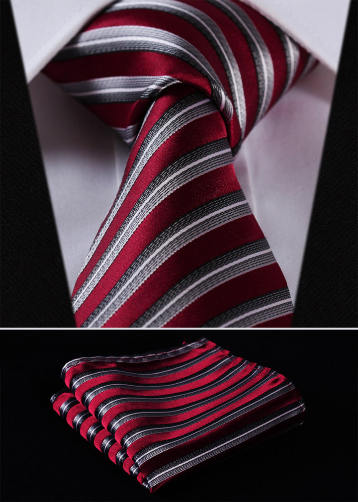 "TS256R8 Red Gray Stripe 3.4"" 100%Silk Wedding Jacquard Woven Men Tie Necktie Pocket Square Handkerchief Set Suit-novahe"