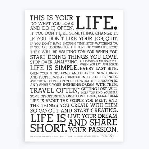 The Holstee Manifesto This Is Your Life Holstee Best This Is Your Life Quote Poster