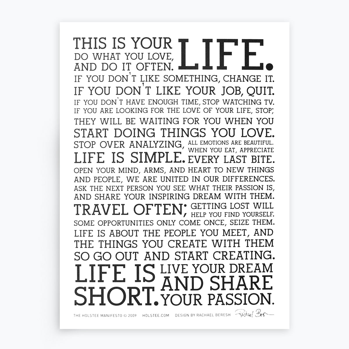 The Holstee Manifesto Original Letterpress Poster This Is Your