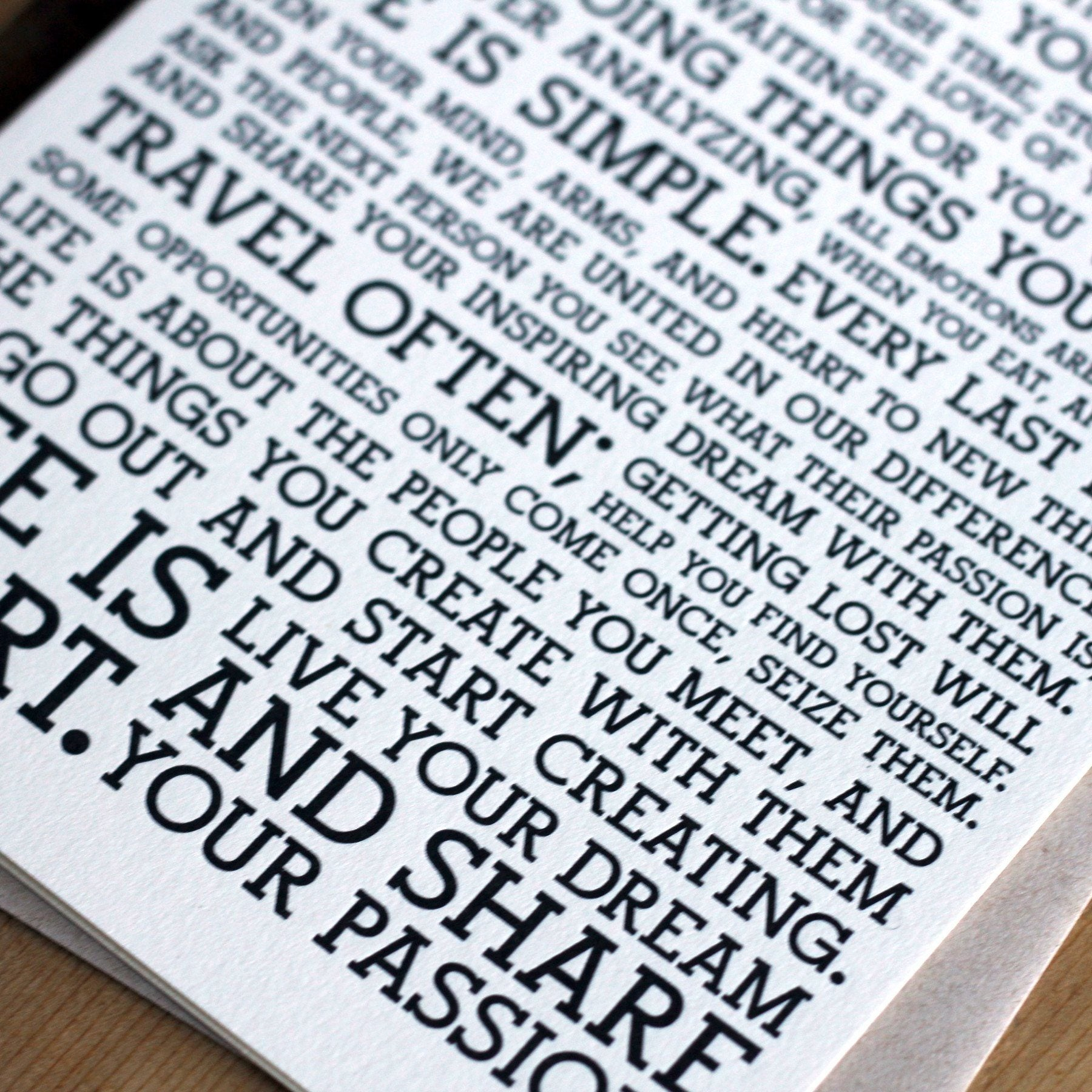 Holstee Manifesto Greeting Cards (6-Pack) - Letterpress Cards- Holstee