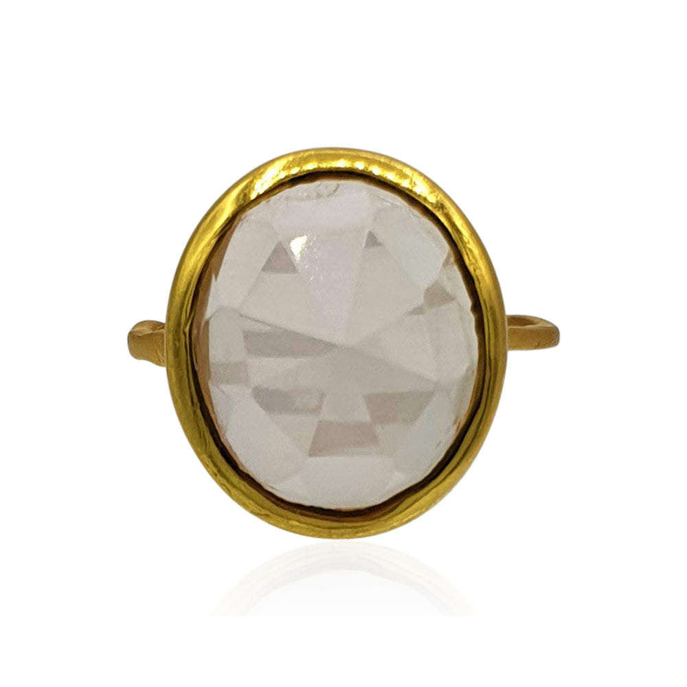 Aissa: Rose Quartz Ring in 18k Gold Vermeil on Sterling Silver