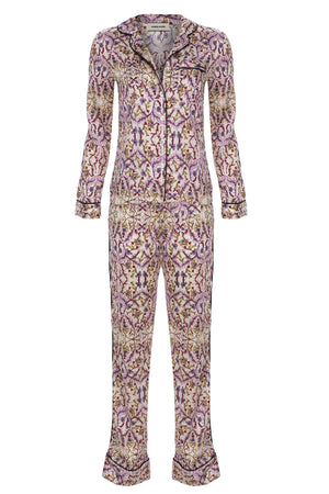Stella Patterned Silk Pj Set - Beige