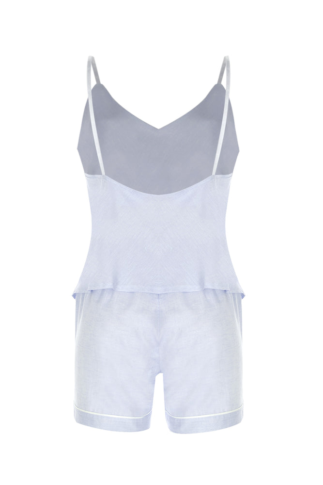 Lea Linen Cami & Short PJ Set -  Mint Blue