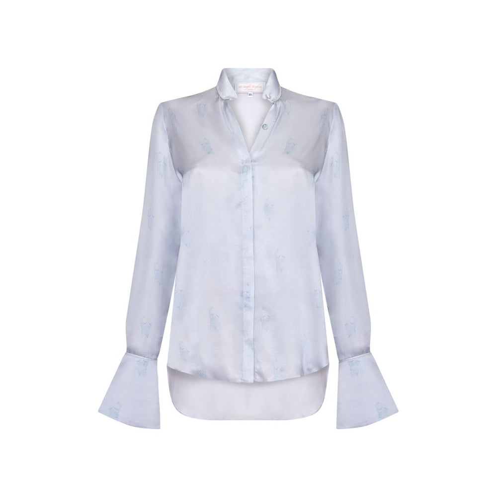 Barely There Silk Shirt - Blue