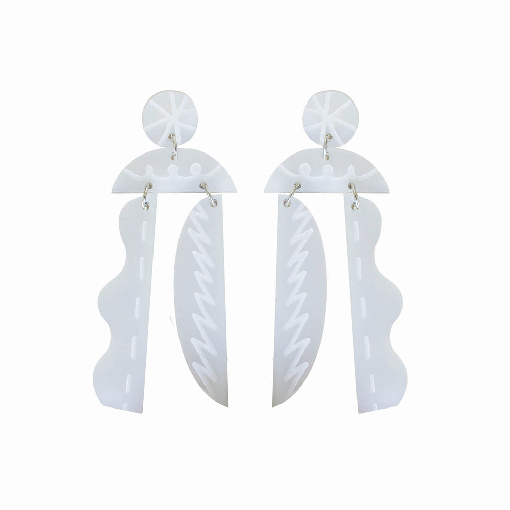 Cut Out Earrings - White