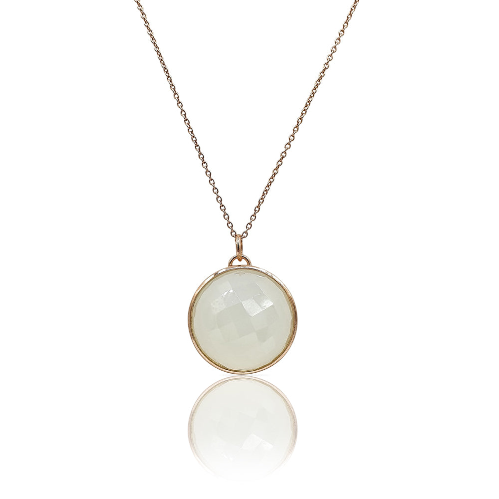 Eclipse: White Onyx Necklace in 18k Rose Gold Vermeil on Sterling Silver