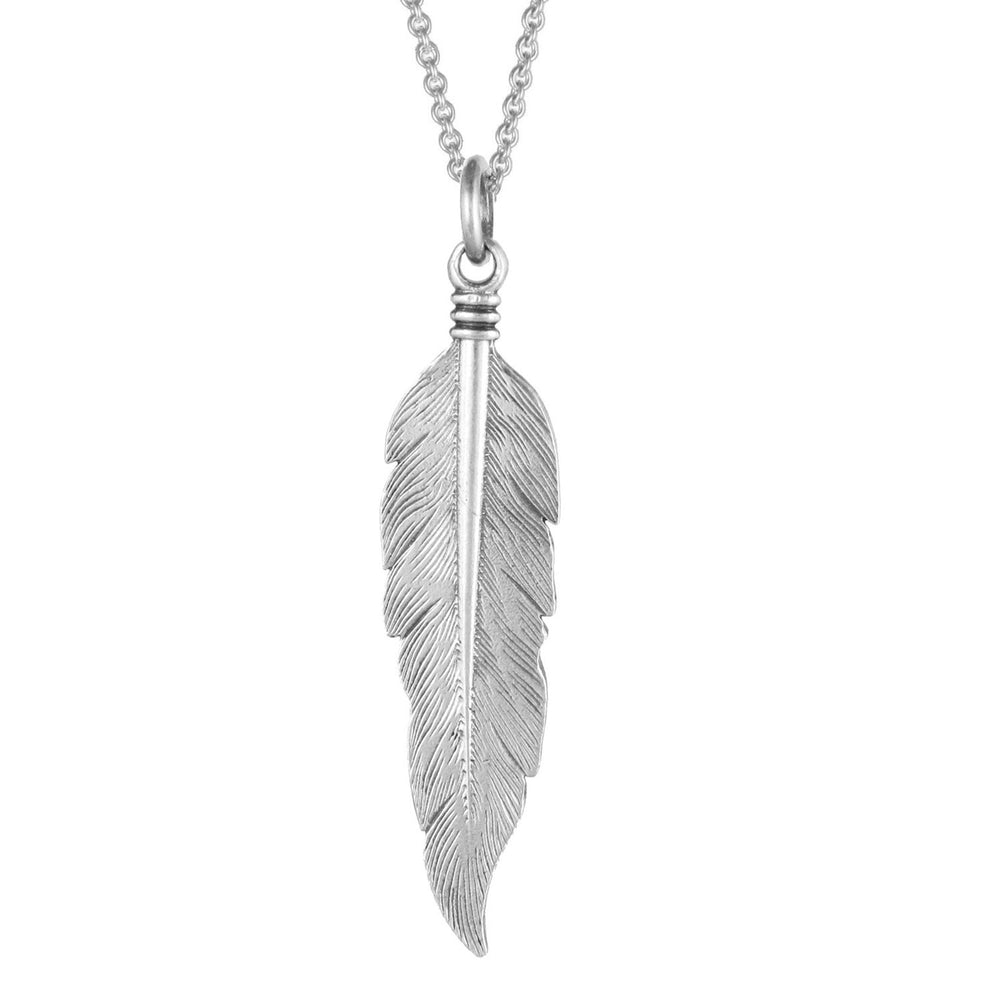 Large Feather Necklace - Silver