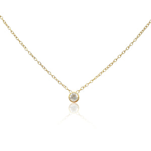 Lucia: Diamond Solitaire Necklace in 18k Gold Vermeil