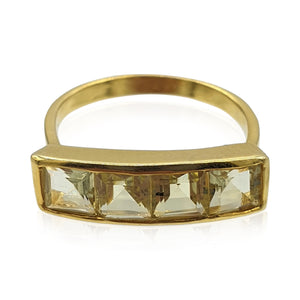 Nadine: Green Gold Quartz Ring in 18k Gold Vermeil on Sterling Silver