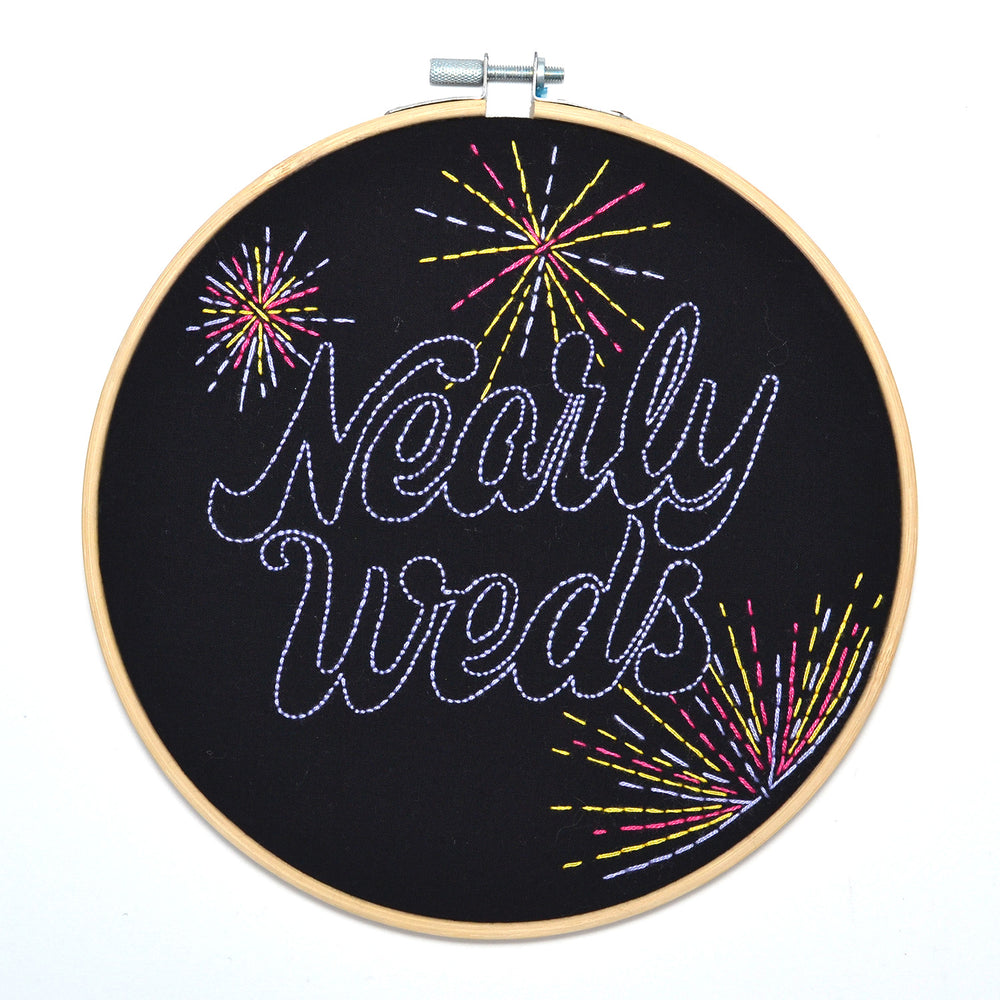 Nearly Weds Embroidered Hoop