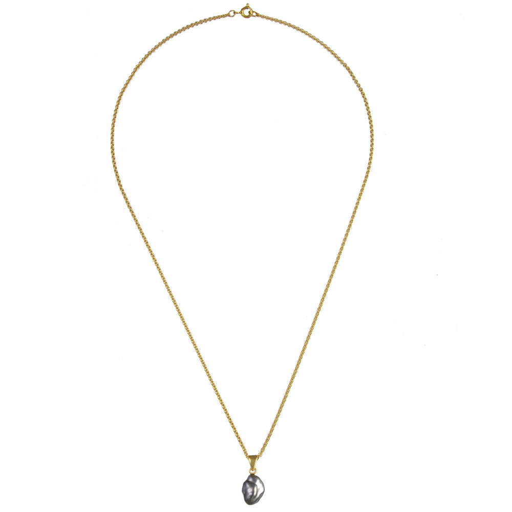 Black Pearl Necklace - Gold
