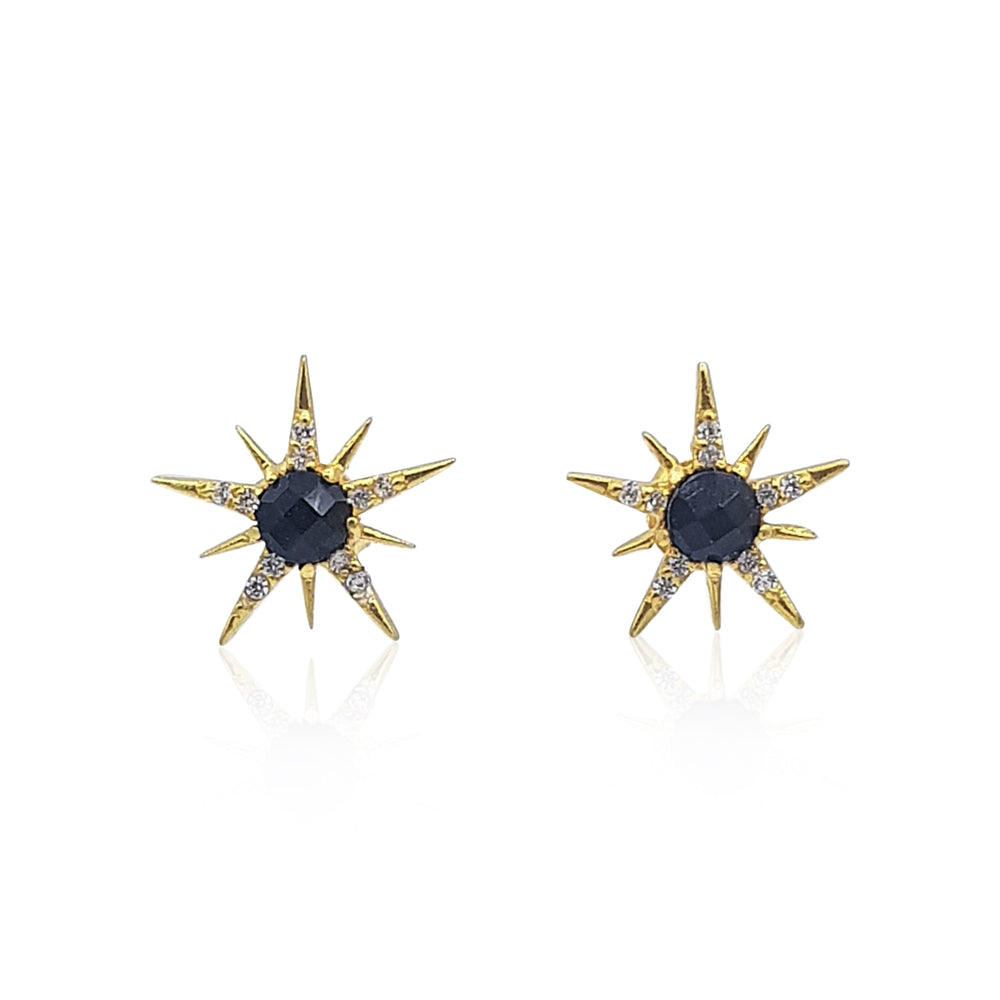 Gemstone Sunburst Stud Earrings in 18k Gold Vermeil on Sterling Silver (Black Onyx and Cubic Zirconia)