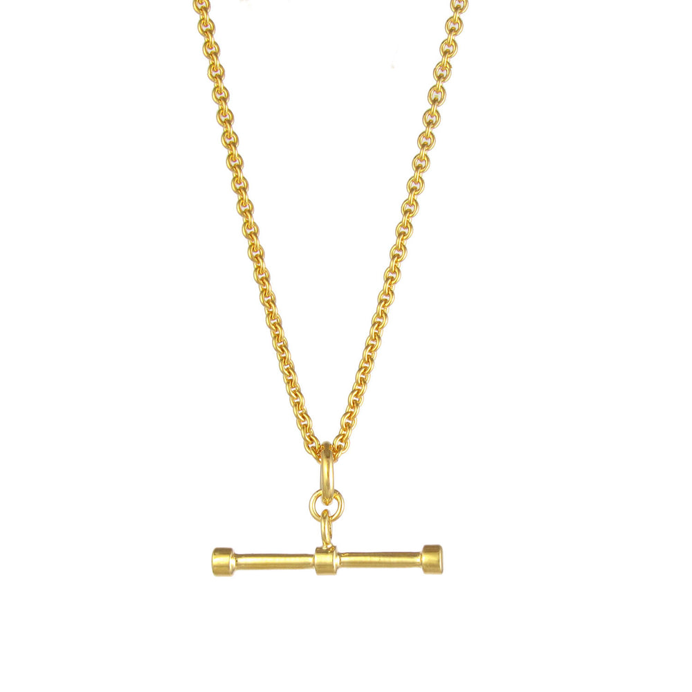 Trace Chain T Bar Necklace - Gold
