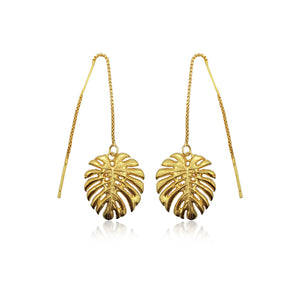 Tropical Leaf Dangling Earrings in 18k Gold Vermeil on Sterling Silver