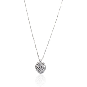 Tropical Leaf Necklace in Sterling Silver