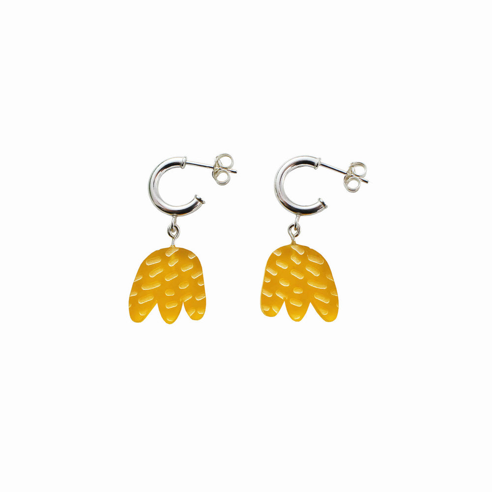 Tulip Charm Earrings - Yellow
