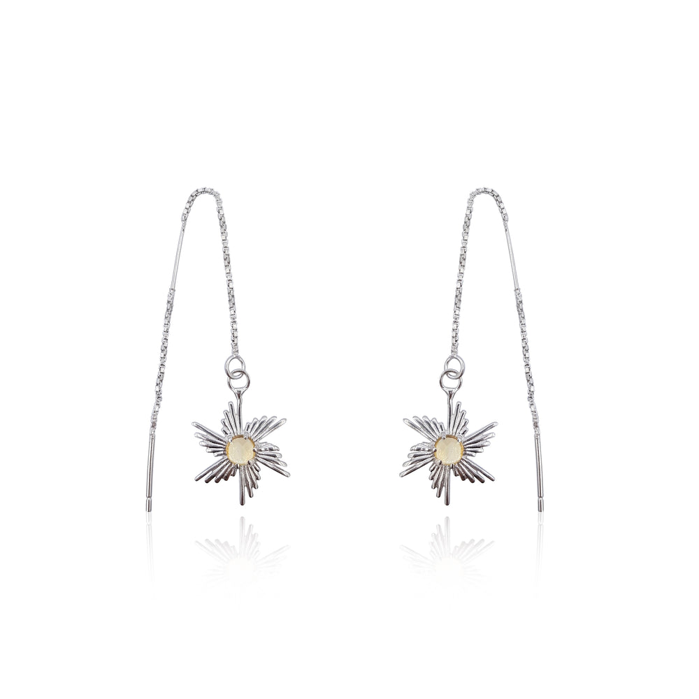 Comet Sunburst Dangling Earrings in Sterling Silver (Citrine)