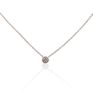 Lucia Diamond Solitaire Necklace in 18k Rose Gold Vermeil