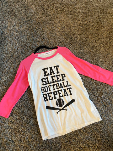 Eat sleep softball repeat baseball top