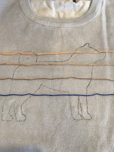 Hand embroidered and beaded Shiba Inu sweater