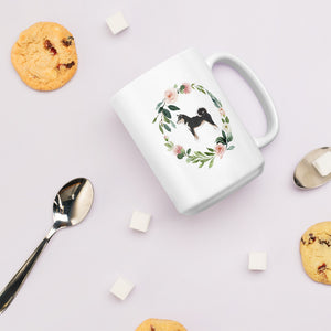 Black and Tan Shiba Floral Mug