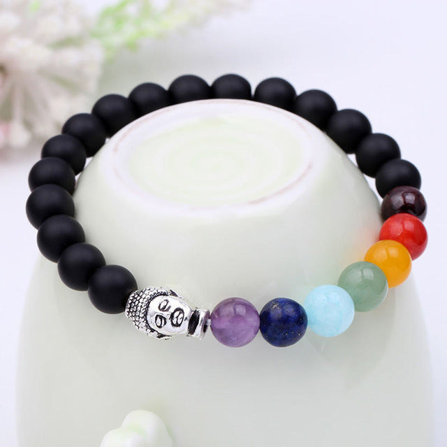 Natural Stone Chakra Bracelet with Hollowed Heart Pendant