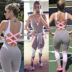 CINDY Contrast Color Bandage Backless Sleeveless Fitness Tracksuit