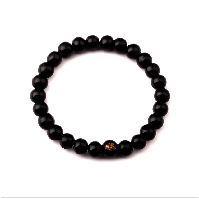 Buddha 8MM Natural Wooden & stone Beaded Root Chakra  Bracelet