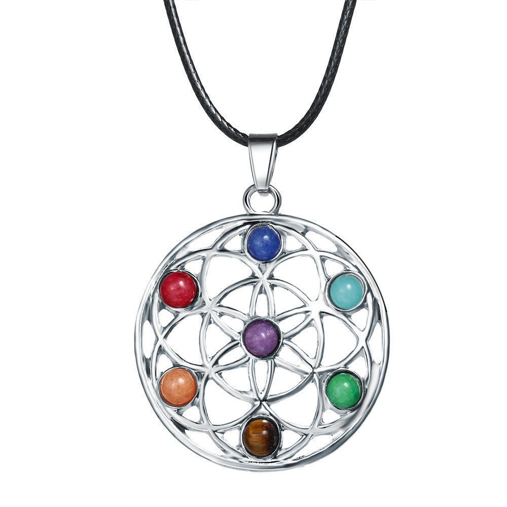Energy Mix 7 Resin Beads Chakra Healing Point Pendant Necklace