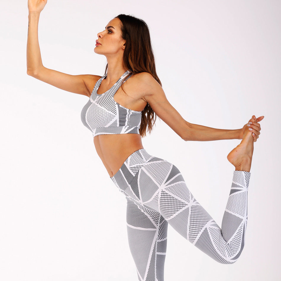 Van 2 PCS White Geometric Print Sports Bra and Leggings Suit Set