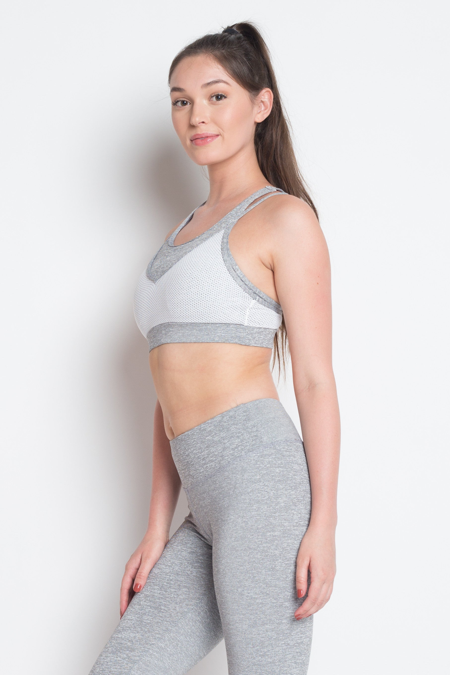 DELIGHTS GREY DOUBLE STRAP SPORTS BRA