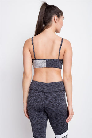 CONTRASTED BLACK AND GREY COLOR SPORTS BRA